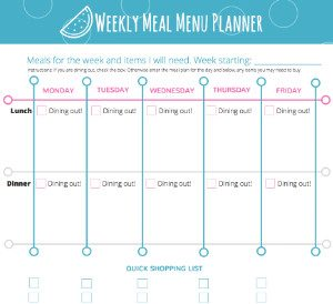 Crisbella Designs Printables: Weekly Meal Planner